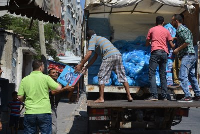 Unloading aid in Rafah today (Photo: Charlie Andreasson)
